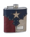 "6oz Genuine Leather ""Texas Pride"" Hip Flask"