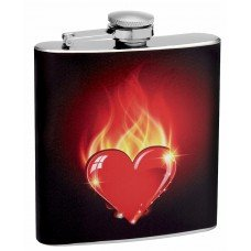 """Burning Heart"" Themed Hip Flask"