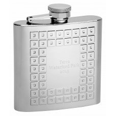 6oz Embossed Square Pattern Hip Flask