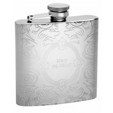 6oz Embossed Floral Pattern Hip Flask with Oval Engrave Area