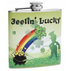 "6oz ""Feeling Lucky"" St. Patrick's Theme Hip Flask"