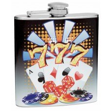 6oz Lucky Number 7 Gambling Hip Flask