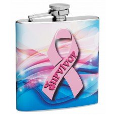 "6oz ""Pink Ribbon"" Flask for Breast Cancer Survivors and Supporters"