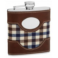 6oz Plaid Cloth and Faux Leather Hip Flask