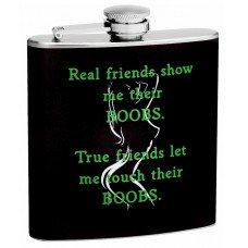 "6oz ""True Friends and Boob Rules"" Hip Flask"