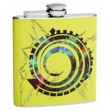 6oz Yellow Flask with Swirl Tribal Symbol
