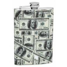 8oz 100 Dollar Bills Theme Wrapped Flask