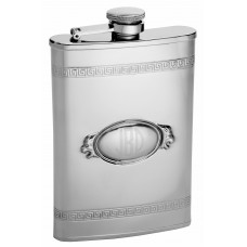8oz Raised Engrave Area Flask with Aztec Pattern and Lions Head