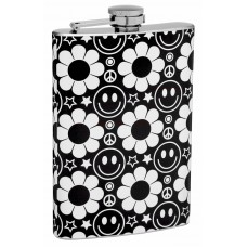 8oz Hippy Themed Smiley Face, Flowers, and Star Hip Flask