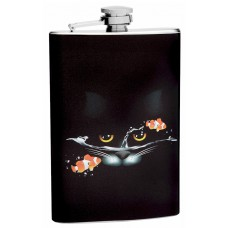 Fading Sad Cat with Clown Fish Hip Flask