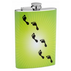 8oz Hip Flask With Footprints Across a Star Burst