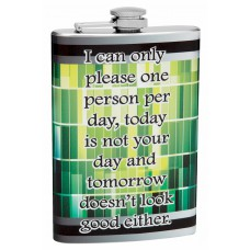 "8oz ""Please One Person Per Day"" Themed Hip Flask"