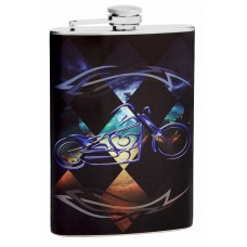 8oz Blue Motorcycle Hip Flask
