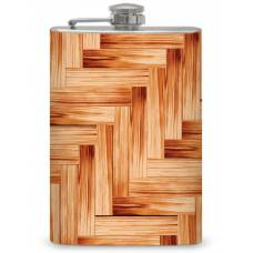 8oz Classic Wood Mosaic Personalized Flask