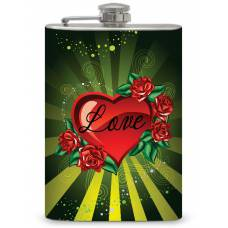 "8oz ""Heart Love"" Flask"