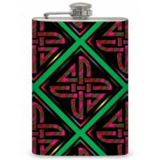 8oz Pink and Green Celtic Pattern Flask