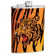 8oz Ferocious Looking Bengal Tiger Flask with Stars