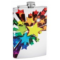 8oz 3D Shooting Rainbow Stars LGBTQ Hip Flask