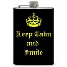 """8oz """"Keep Calm and Smile"""" Flask"""