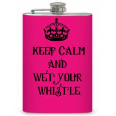 "8oz Keep Calm"" Hot Pink Flask"