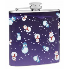 6oz Flask with Happy Snowmen