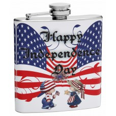 "6oz Little Boy and Girl ""Happy Independence Day"" 4th of July Hip Flask"