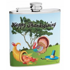 6oz Happy Thanksgiving Cornucopia Hip Flask