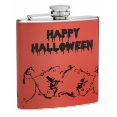 6oz Orange and Black Halloween Hip Flask