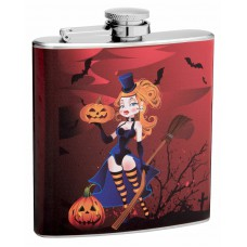 6oz Sexy Witch Halloween Hip Flask
