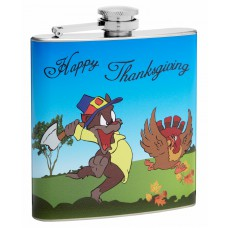 6oz Happy Thanksgiving Cat Versus Turkey Hip Flask