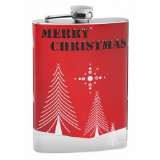 "Red ""Merry Christmas"" Holiday 8oz Hip Flask"