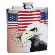 6oz American Flag Flask with Bald Eagle