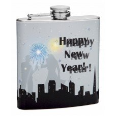 6oz Celebrating Happy New Year Gray Flask
