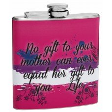 "6oz ""Gift of Life"" Stainless Steel Hip Flask for Mom"