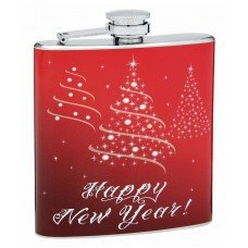 Festive Happy New Year 6oz Hip Flask