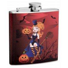 6oz Sexy Witch Halloween Hip Flask