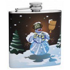 6oz Snowman Hip Flask with Winter Theme