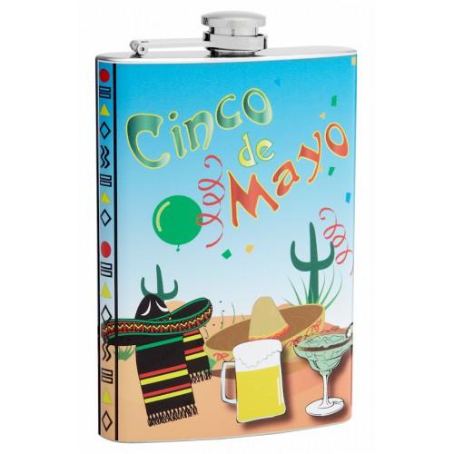 8oz Cinco De Mayo Holiday Hip Flask | Flasks.com