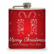 6oz Red Holiday Flask