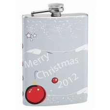 Merry Christmas 8oz Hip Flask with Personalization
