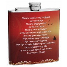 "6oz ""Mom's Smile"" Hip Flask for Moms"