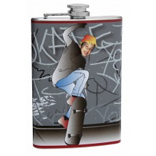8oz Insert Your Own Picture Skateboard Flask