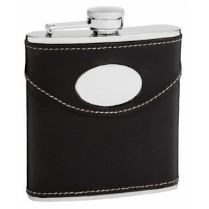 6oz Black Leather Hip Flask with Oval Engraving Area from Flasks.com