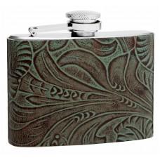 4oz Textured Genuine Leather Hip Flask