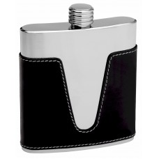 6oz Black Leather with Cut Out Design Hip Flask