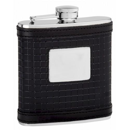 6oz Black Leather Hip Flask from Flasks.com
