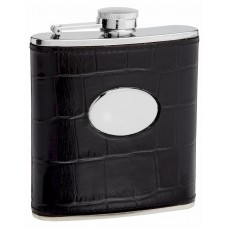 6oz Leather Hip Flask with Eel Skin Pattern
