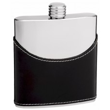 6oz Black Leather Flask with Mirror Finish