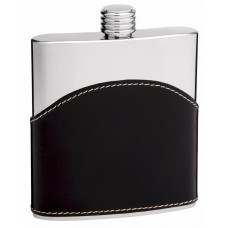 6oz Black Genuine Leather Hip Flask with Engraving Area