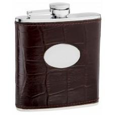 6oz Brown Leather Eel Skin Pattern Hip Flask
